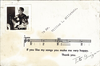 TITO GUIZAR - MUSICAL QUOTATION SIGNED CIRCA 1932  - HFSID 223655