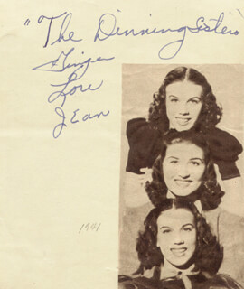 THE DINNING SISTERS - AUTOGRAPH CIRCA 1941 CO-SIGNED BY: THE DINNING SISTERS (ELLA LUCILLE LOU DINNING), THE DINNING SISTERS (JEAN DINNING), THE DINNING SISTERS (VIRGINIA GINGER DINNING)