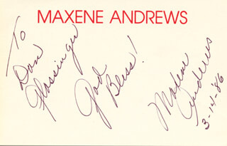 MAXENE ANDREWS - AUTOGRAPH NOTE SIGNED 03/14/1986