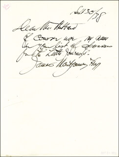 JAMES MONTGOMERY FLAGG - AUTOGRAPH NOTE SIGNED 09/30/1938