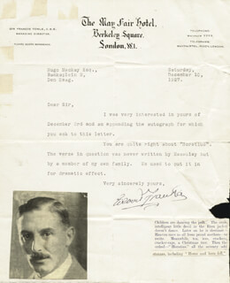 GILBERT FRANKAU - TYPED LETTER SIGNED 12/10/1927