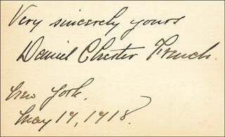 DANIEL CHESTER FRENCH - AUTOGRAPH SENTIMENT SIGNED 05/19/1918