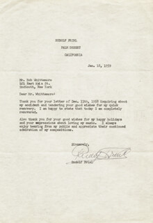 RUDOLF FRIML - TYPED LETTER SIGNED 01/18/1959