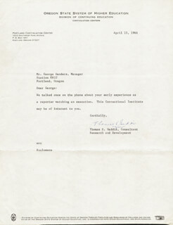 THOMAS EUGENE GADDIS - TYPED LETTER SIGNED 04/15/1966