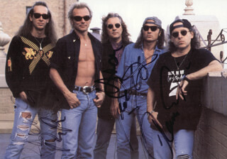 THE SCORPIONS - AUTOGRAPHED SIGNED PHOTOGRAPH CO-SIGNED BY: THE SCORPIONS (KLAUS MEINE), THE SCORPIONS (RUDOLF SCHENKER), THE SCORPIONS (MATTHIAS JABS), THE SCORPIONS (HERMAN RAREBELL), THE SCORPIONS (RALPH RIECKERMANN)