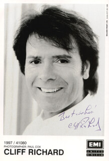 CLIFF RICHARD - PRINTED PHOTOGRAPH SIGNED IN INK