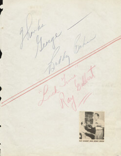 RAY GILBERT - INSCRIBED SIGNATURE CO-SIGNED BY: BUDDY BAKER, SIDNEY MILLER