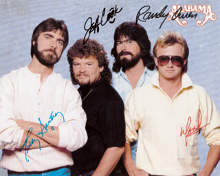 ALABAMA - AUTOGRAPHED SIGNED PHOTOGRAPH CO-SIGNED BY: ALABAMA (JEFF COOK), ALABAMA (TEDDY GENTRY), ALABAMA (MARK HERNDON), ALABAMA (RANDY OWEN)