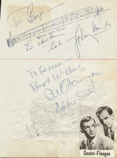 JOHNNY GREEN - INSCRIBED AUTOGRAPH MUSICAL QUOTATION SIGNED 1954 CO-SIGNED BY: EDDIE SAUTER, BILL FINEGAN, PAT CROWLEY