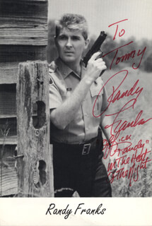 RANDALL RANDY FRANKS - INSCRIBED PRINTED PHOTOGRAPH SIGNED IN INK
