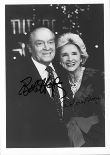 BOB HOPE - AUTOGRAPHED SIGNED PHOTOGRAPH CO-SIGNED BY: DOLORES (MRS. BOB) HOPE