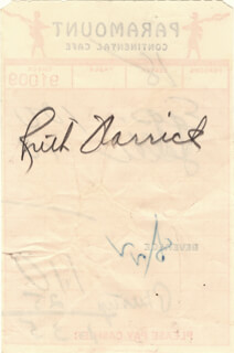RUTH WARRICK - MEAL TICKET SIGNED 8/22