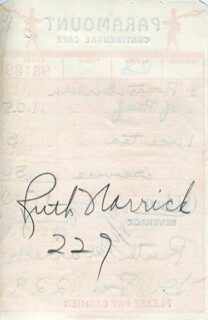 RUTH WARRICK - MEAL TICKET SIGNED 08/06/1949