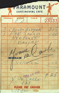 YVONNE DE CARLO - MEAL TICKET SIGNED 02/18/1952