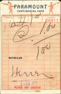 JOSE FERRER - MEAL TICKET SIGNED 06/12/1951