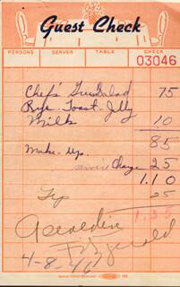 GERALDINE FITZGERALD - MEAL TICKET SIGNED CIRCA 1946