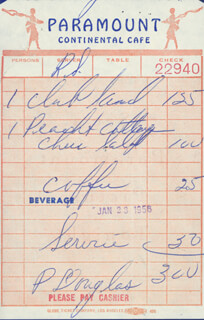 PAUL DOUGLAS - MEAL TICKET SIGNED 01/23/1956