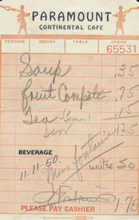 JOAN FONTAINE - MEAL TICKET SIGNED 11/11/1950