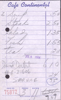 DAVID DORTORT - MEAL TICKET SIGNED 07/08/1964
