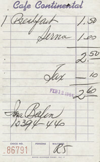 INA BALIN - MEAL TICKET SIGNED 02/12/1964