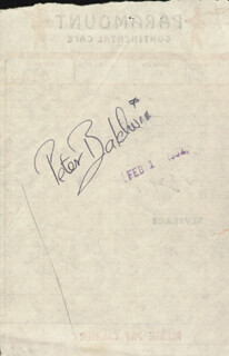 PETER BALDWIN - MEAL TICKET SIGNED 02/01/1952