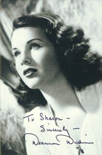 DEANNA DURBIN - AUTOGRAPHED INSCRIBED PHOTOGRAPH