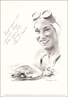 Autographs: FLORENCE M. CHADWICK - INSCRIBED ILLUSTRATION SIGNED
