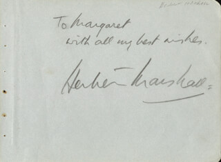 HERBERT MARSHALL - AUTOGRAPH NOTE SIGNED
