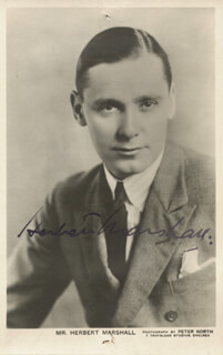 Autographs: HERBERT MARSHALL - PICTURE POST CARD SIGNED