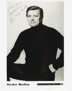 GORDON MacRAE - INSCRIBED PRINTED PHOTOGRAPH SIGNED IN INK