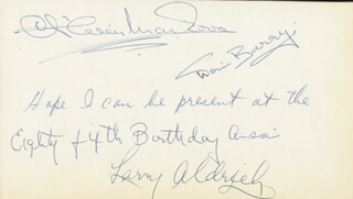 Autographs: DORIS BARRY - AUTOGRAPH NOTE SIGNED CO-SIGNED BY: LARRY ALDRICH