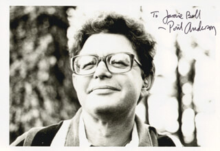 POUL ANDERSON - AUTOGRAPHED INSCRIBED PHOTOGRAPH