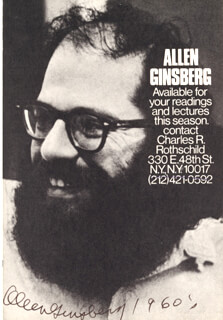 ALLEN GINSBERG - AUTOGRAPHED SIGNED PHOTOGRAPH
