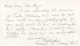 GENERAL GEORGE H. DECKER - AUTOGRAPH LETTER SIGNED CIRCA 1974