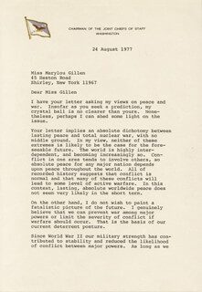 Autographs: GENERAL GEORGE S. BROWN - TYPED LETTER SIGNED 08/24/1977