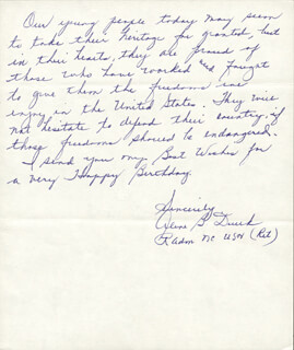 REAR ADMIRAL ALENE B. DUERK - AUTOGRAPH LETTER SIGNED 01/16/1979