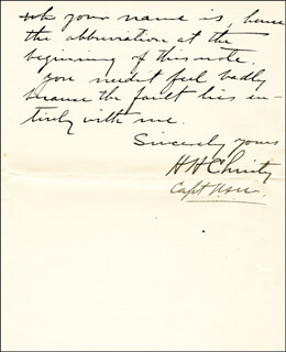 Autographs: VICE ADMIRAL HARLEY H. CHRISTY - AUTOGRAPH LETTER SIGNED 03/04/1919