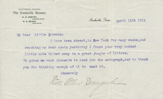 WILL ALLEN DROMGOOLE - TYPED LETTER SIGNED 04/11/1911