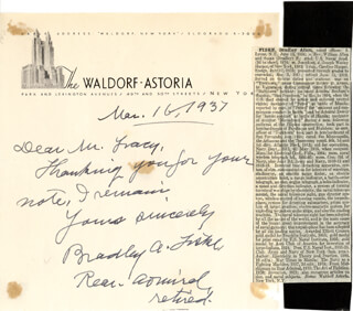 REAR ADMIRAL BRADLEY A. FISKE - AUTOGRAPH LETTER SIGNED 03/16/1937