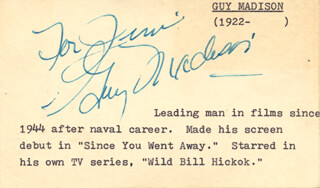 GUY MADISON - INSCRIBED SIGNATURE