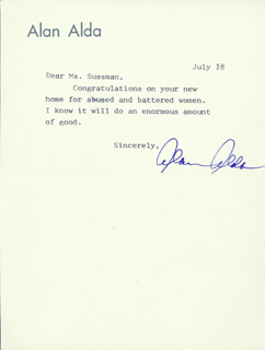 ALAN ALDA - TYPED NOTE SIGNED 7/18  - HFSID 224400