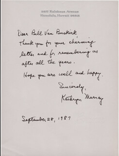 KATHRYN MURRAY - AUTOGRAPH LETTER SIGNED 09/28/1987