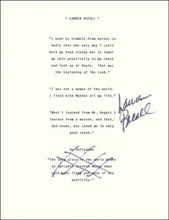 Autographs: LAUREN BACALL - TYPED QUOTATION SIGNED