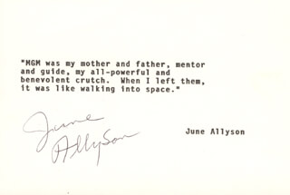 Autographs: JUNE ALLYSON - TYPED QUOTATION SIGNED