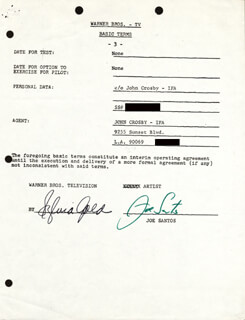 JOE SANTOS - CONTRACT SIGNED 02/15/1974