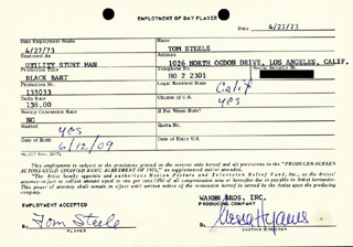 TOM STEELE - ONE DAY MOVIE CONTRACT SIGNED 04/27/1973