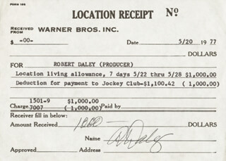 Autographs: ROBERT DALEY - ANNOTATED RECEIPT SIGNED 05/20/1977