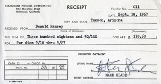 MARK SLADE - RECEIPT SIGNED 09/18/1967