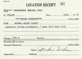 SONDRA LOCKE - RECEIPT SIGNED 05/14/1977