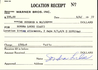 SONDRA LOCKE - RECEIPT SIGNED 06/04/1977